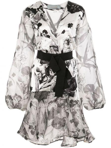 Шелковое серое платье с запахом на пуговицах Silvia Tcherassi