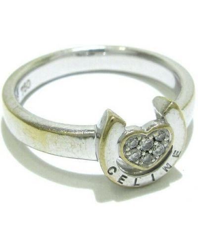 Biały pierścionek srebrny Celine Vintage