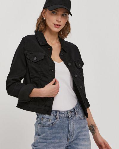 Czarna kurtka jeansowa bawełniana zapinane na guziki Vero Moda