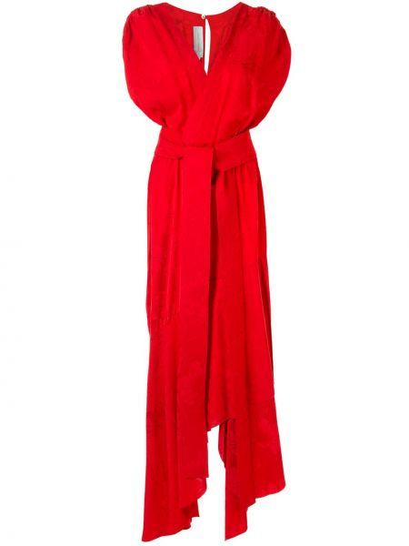 Красное асимметричное платье мини с V-образным вырезом на молнии Silvia Tcherassi