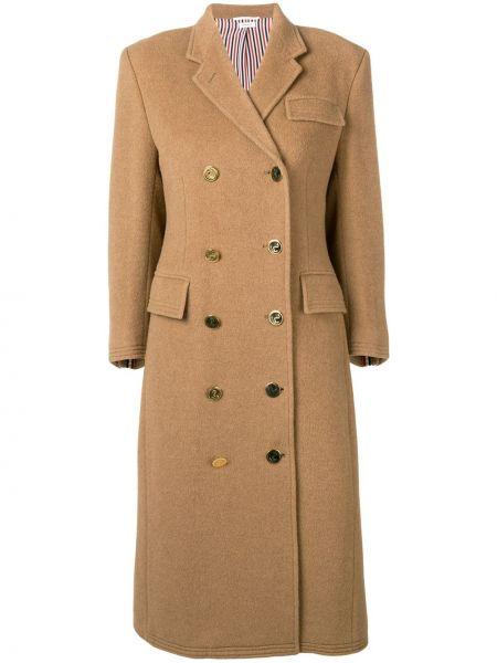 Шерстяное пальто классическое с капюшоном двубортное Thom Browne