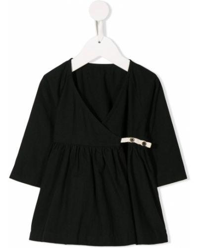 Czarna sukienka mini kopertowa z długimi rękawami Little Creative Factory Kids