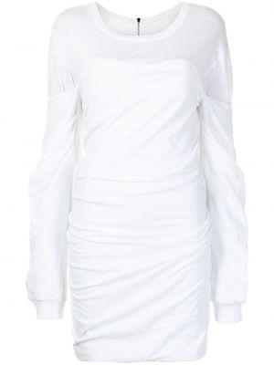 Prążkowana sukienka długa z falbanami z długimi rękawami Rta