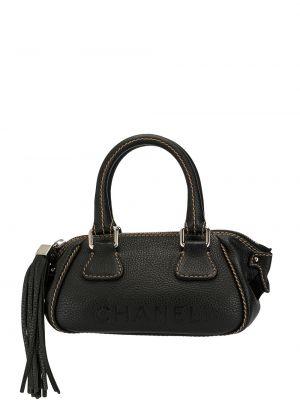 Черная кожаная сумка с бахромой круглая на молнии Chanel Pre-owned