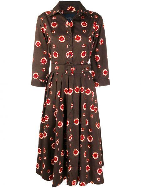 Платье с поясом на пуговицах с цветочным принтом Samantha Sung