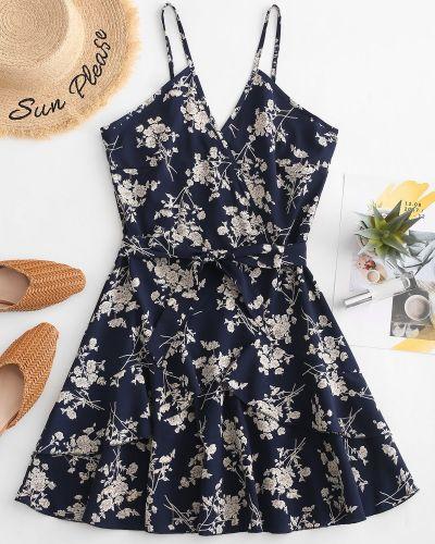 Платье с поясом с цветочным принтом синее Zaful