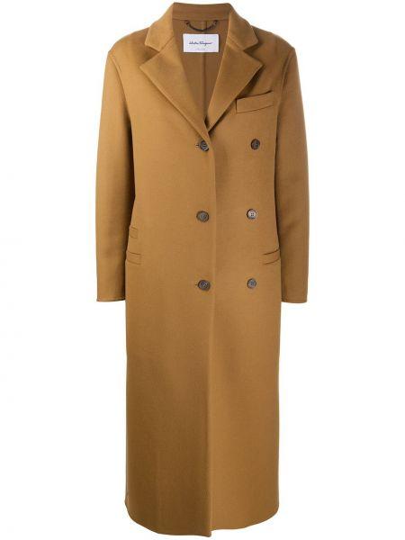 Однобортное коричневое кашемировое длинное пальто Salvatore Ferragamo