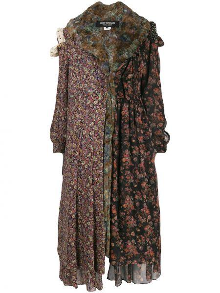 Асимметричное черное пальто из искусственного меха со вставками Junya Watanabe Comme Des Garçons Pre-owned