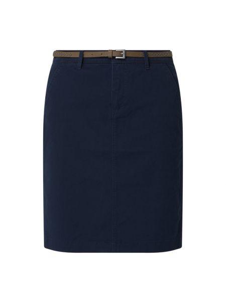 Niebieska spódnica ołówkowa z paskiem bawełniana Montego
