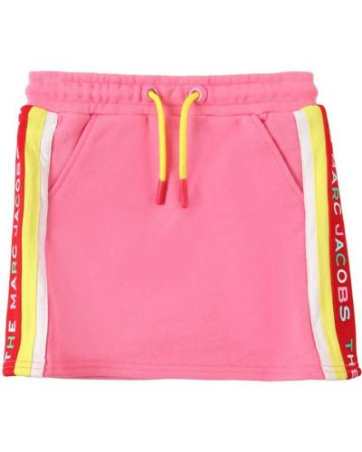Розовая хлопковая юбка в полоску Little Marc Jacobs
