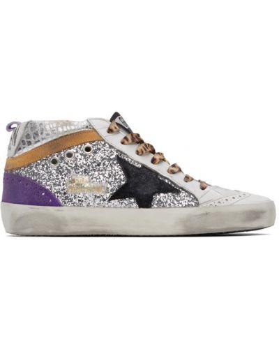 Кожаные белые высокие кроссовки на каблуке Golden Goose
