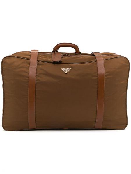 Włókienniczy z paskiem brązowy walizka z klamrą Prada