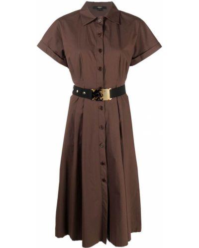 Коричневое прямое платье миди с короткими рукавами Seventy