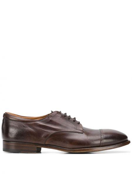 Темно-коричневые кожаные туфли на каблуке на шнурках Silvano Sassetti