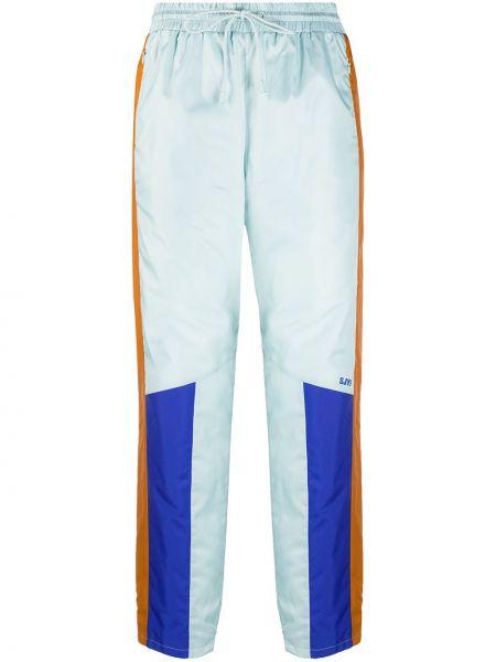 Облегченные прямые синие нейлоновые спортивные брюки Sjyp