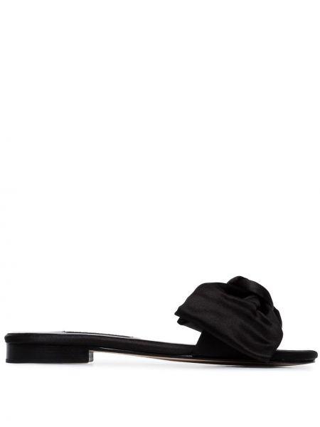 Кожаные черные шлепанцы на каблуке с тиснением Newbark