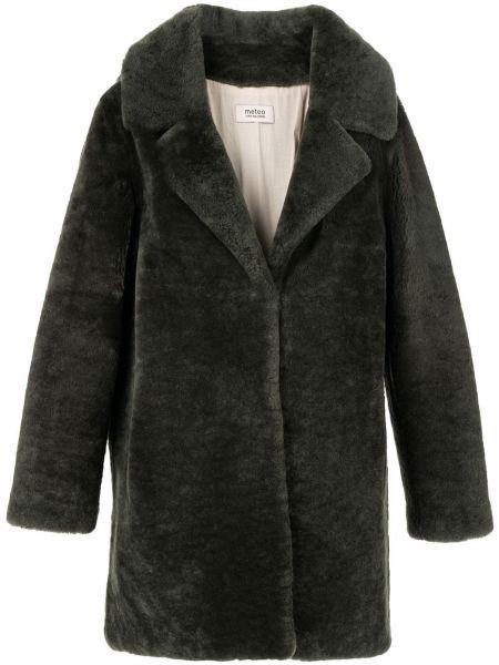 Черное кожаное пальто классическое с воротником Yves Salomon Meteo