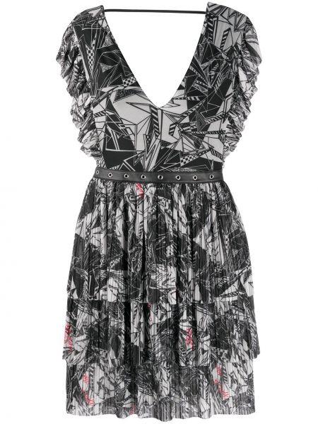 Черное расклешенное платье мини с V-образным вырезом на молнии Patrizia Pepe