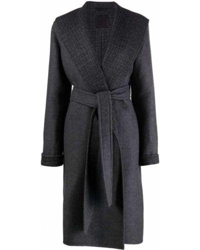 Серое длинное пальто Givenchy