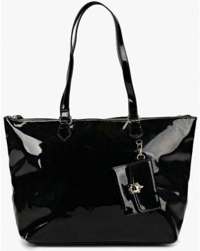 Кожаная сумка черная лаковый Carpisa