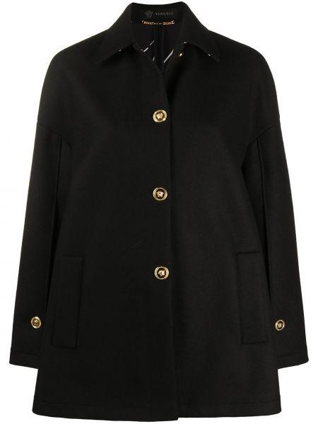 Шерстяное черное пальто классическое с воротником Versace