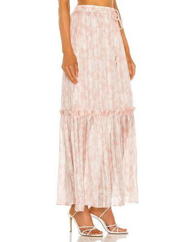 Różowa satynowa spódnica midi w paski Bcbgmaxazria