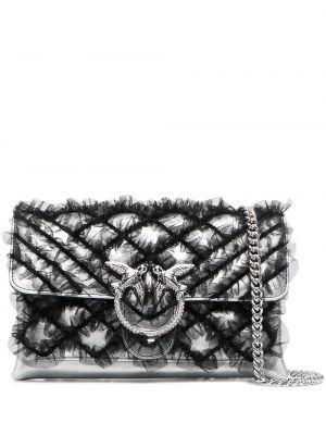 Серебряная стеганая кожаная сумка на цепочке Pinko