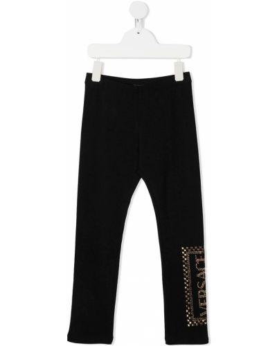 Czarne spodnie bawełniane z printem Young Versace