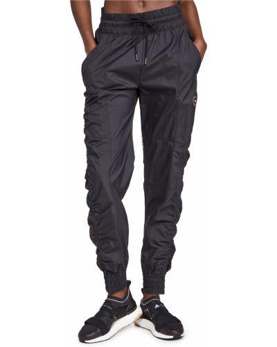 Черные брюки на резинке с оборками Adidas By Stella Mccartney