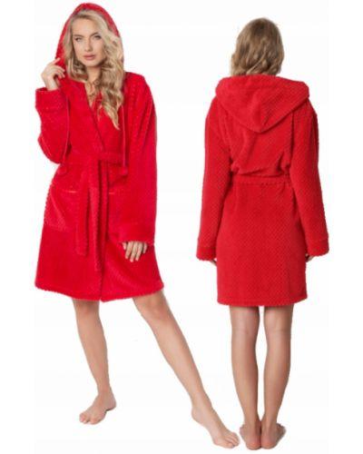 Czerwony szlafrok z kapturem z długimi rękawami Aruelle