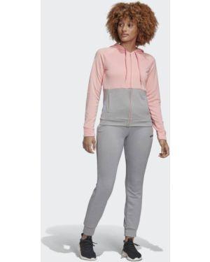 Махровый розовый спортивный костюм Adidas