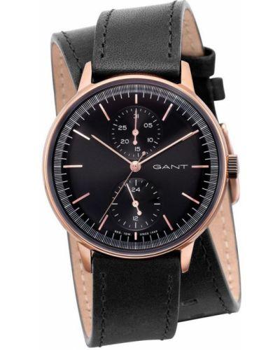 Czarny złoty zegarek mechaniczny kwarc Gant