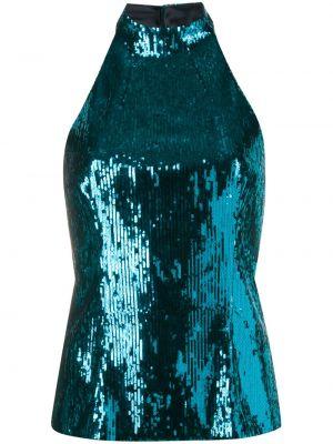 Прямой синий топ с пайетками без рукавов Galvan