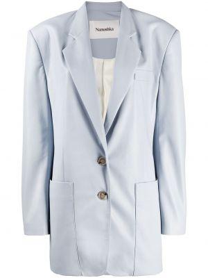 Однобортный синий кожаный удлиненный пиджак Nanushka