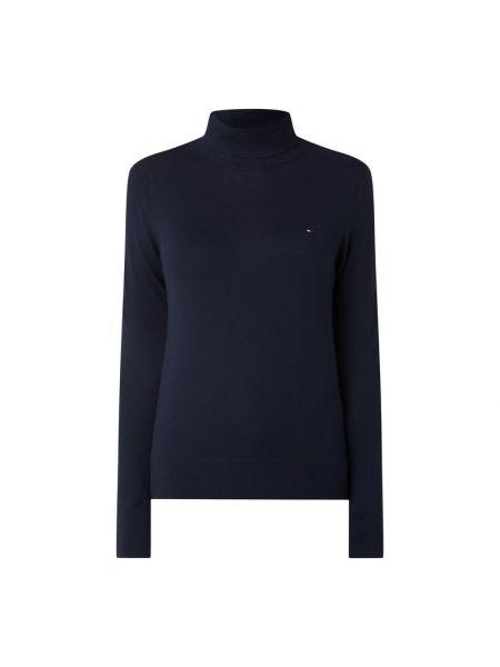 Niebieski sweter z kołnierzem z paskami na paskach Tommy Hilfiger