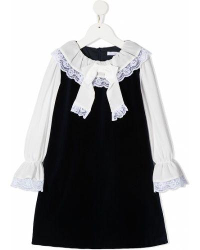 Прямое синее платье с рукавами с вырезом круглое Patachou