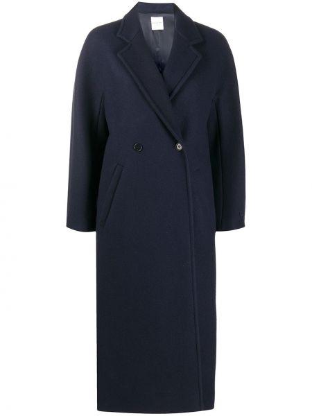 Синее шерстяное длинное пальто оверсайз Roseanna