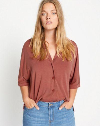 Коричневая блузка с длинным рукавом с длинными рукавами Violeta By Mango