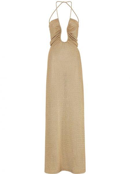 Открытое платье с открытой спиной золотое Fendi