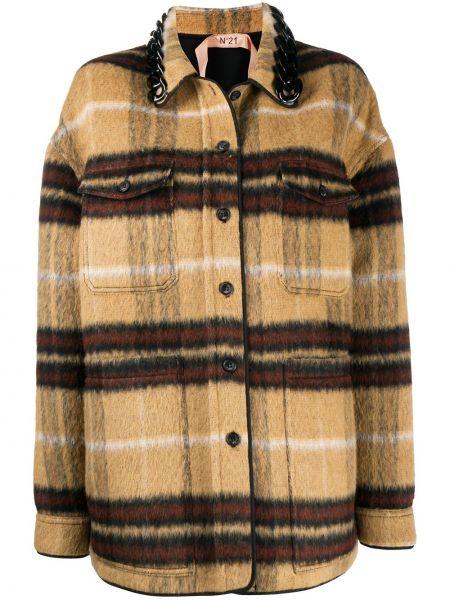 Вязаная прямая куртка на пуговицах с воротником N°21