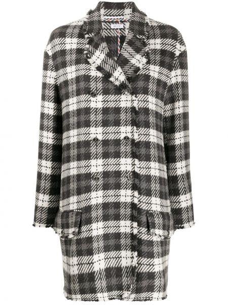 Свободное серое пальто классическое на пуговицах свободного кроя Thom Browne
