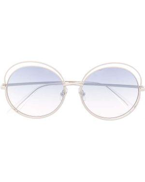 Прямые солнцезащитные очки круглые металлические хаки Bolon
