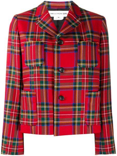 Однобортный красный классический пиджак в клетку Comme Des Garçons Girl