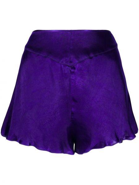 Однобортные сатиновые фиолетовые шорты Forte Forte