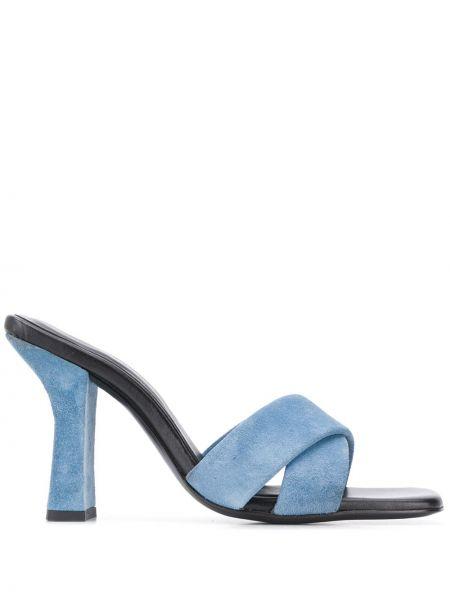 Czarne sandały skorzane peep toe Dorateymur