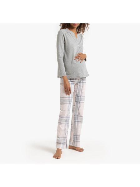 Пижама с брюками фланелевая в клетку La Redoute