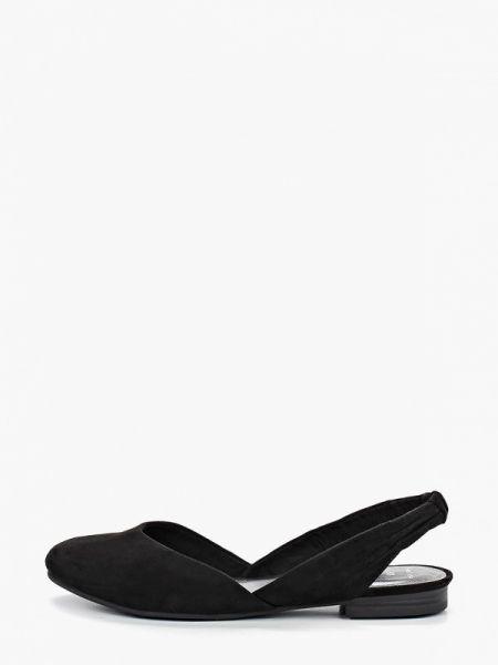 Замшевые туфли черные с открытой пяткой Marco Tozzi