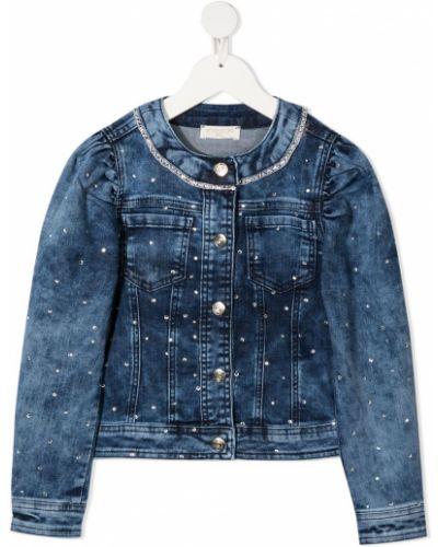 Ватная синяя джинсовая куртка с карманами Monnalisa