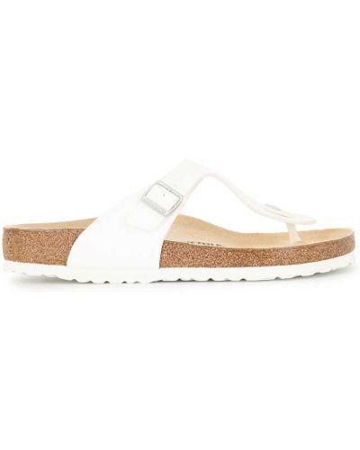 Открытые кожаные сандалии на плоской подошве Birkenstock