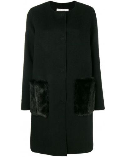 Однобортное черное пальто с капюшоном Manzoni 24